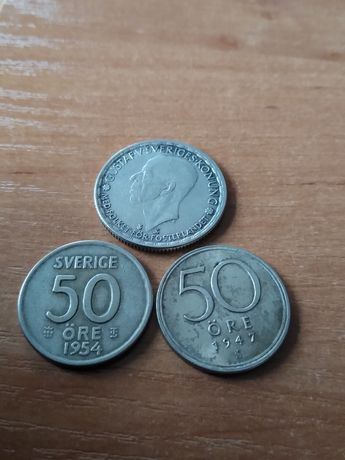 50 ore Korona Szwecja srebro pr 400 zestaw 3 szt