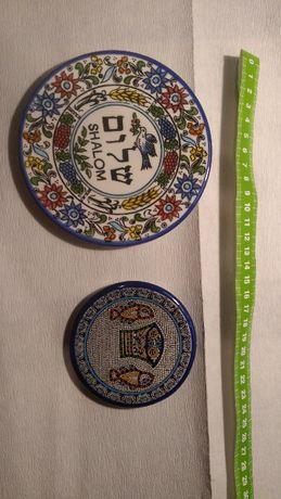 Judaika , talerzyki żydowskie majolikowe , cena 1 szt. 180 zł.