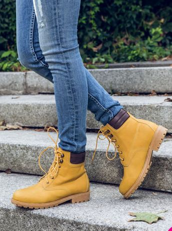 R. 40 Camel brązowe buty zimowe botki traperki damskie kozaki jak nowe