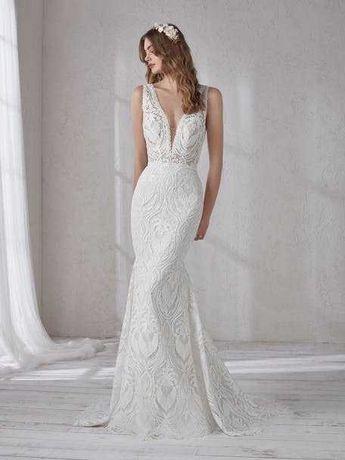 Suknia Ślubna marki Pronovias model Magnolia, syrenka z trenem