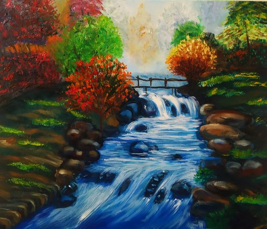 Картина маслом осень, пейзаж