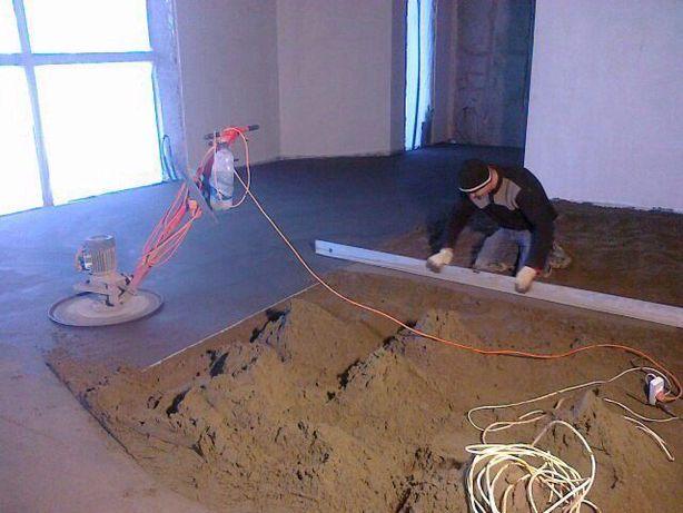 Машинная стяжка пола. Машинная штукатурка стен и потолков.