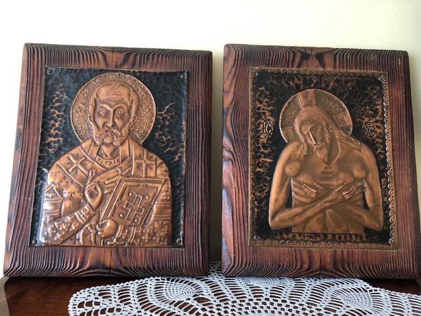 Obrazek miedziany, metaloplastyka, pamiątka chrztu, komunii