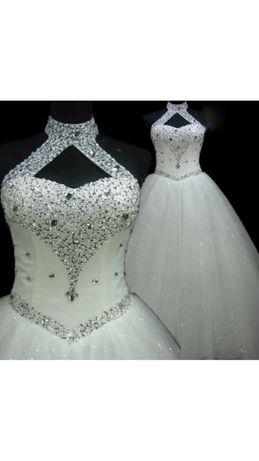 Nowa suknia ślubna z cyrkoniami kryształkami satynowa tiul księżniczka