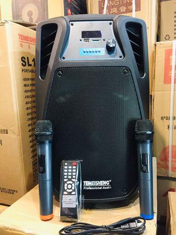 Портативная колонка чемодан с USB,BT, SDTemeisheng SL10+2 микрофона