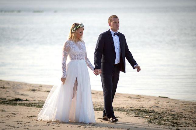 suknia ślubna Sylwia Kopczyńska 2018 koronka tiul rozcięcie 38