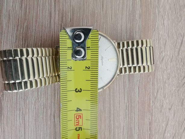 Stary męski złoty zegarek Alpina 14K 585 brazoletka pozłacana
