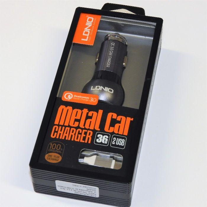 Ładowarka samochodowa LDNIO 2 USB QC 3.0 metalowa w zestawie kabel T-C Tychy - image 1