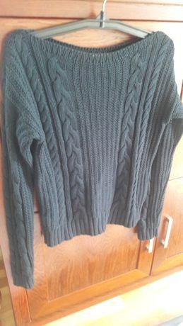 Sweter granat warkocz L-XL sweterek ażur Espirit