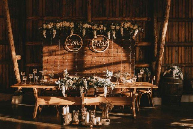 Ścianka Drewniana Rustykalny Styl Dekoracja Ślubna Tło za Para Młoda