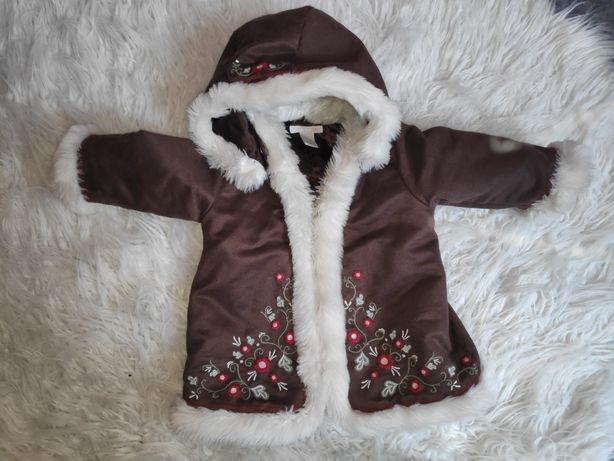Kożuszek zimowy dla dziewczynki śliczny !!!rozmiar 74