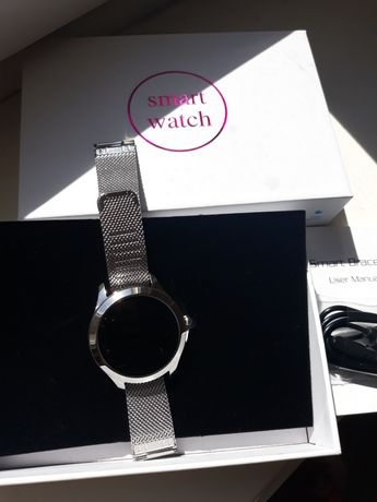 Nowy elegancki Smartwatch damski srebrny Smartband Kw10