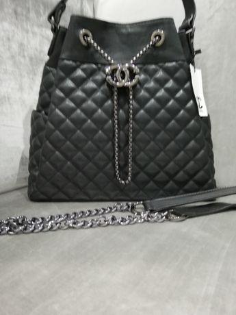 Piękna duża torebka Chanel pikowana grafitowe logo łańcuszek cudo zdj