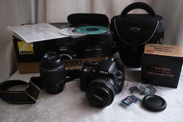Nikon D3100 + Yongnuo 35mm f 2.0 + Nikkor 18-55mm + torba na aparat