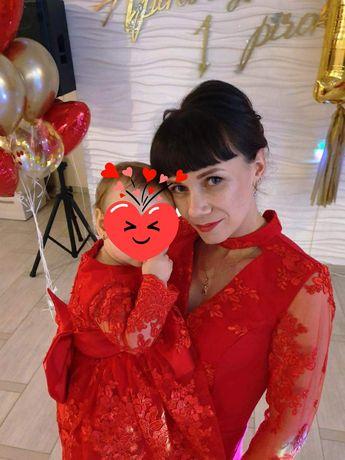 Family look красные платья для кормящей мамы xc и дочки на годик 74-80