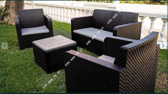 Комплект садовый 2 кресла диван и столик, мебель для сада под ротанг