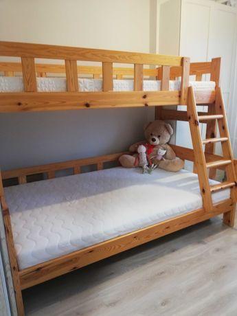 Łóżko piętrowe sosnowe solidne 120x200