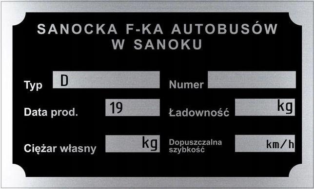 SANOK Tabliczka znamionowa - aluminium