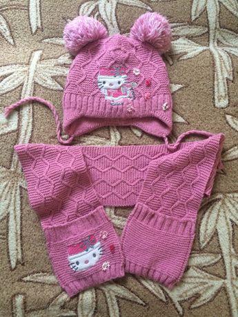 Шапка дитяча зимова і шарф на дівчинку 3-4 роки.