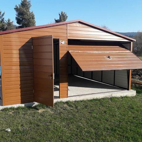 Garaż blaszany blaszak piękna imitacja drewna