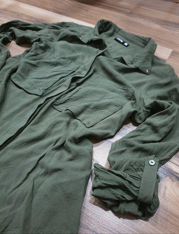 SinSay XS S koszula khaki zielona zieleń modna kieszenie guziki wojsko