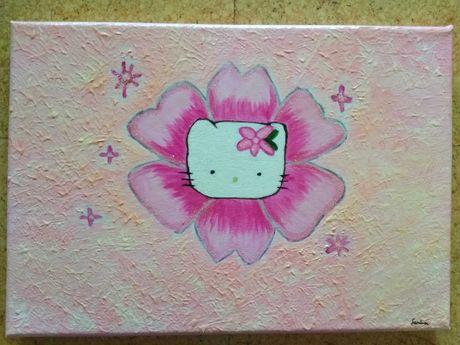 Tela com pintura em acrílico Hello Kitty