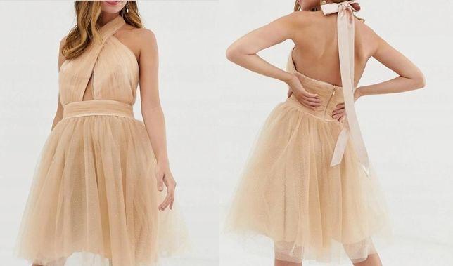 Sukienka 44 XXL XL rozkloszowana tiulowa brokatowa złota beżowa wesele