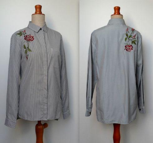 bluzka koszulowa w paski z haftem z przodu i z tyłu 36/38