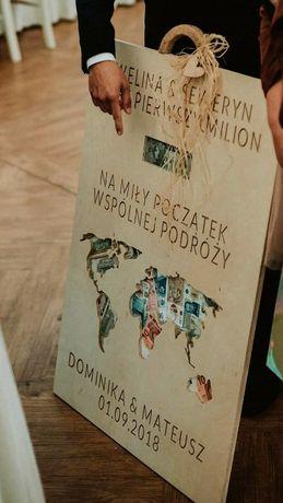 Kartka ślubna, prezent na ślub DREWNIANA eko tablica TWÓJ GRAWER