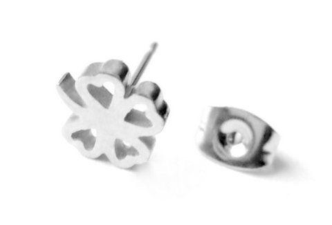 Kolczyk srebrny koniczynka stal 316 l - 8mm/8,5mm
