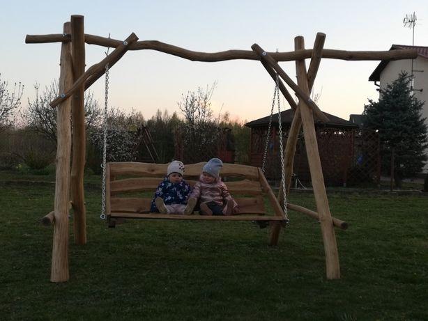 Huśtawka drewniana dębowa bocianie gniazdo hustawka dla dzieci ogród