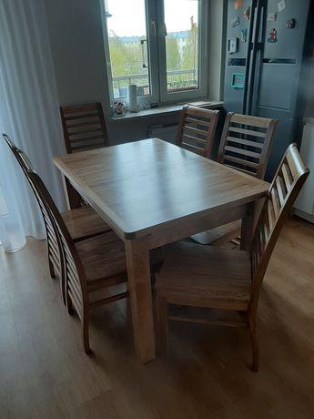 Stół rozkladany i krzesła klejone lite drewno bukowo- dębowe.