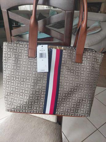Tommy Hilfiger torebka torba beżowo brązowa z USA Oryginalna