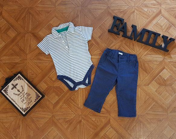 Набор на малыша 3-6мес боди-поло M&S и штаны Benetton
