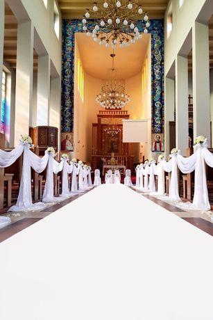 Gruby dywan biały i czerwony na ślub 1,5x20 m z dowozem, dekoracje
