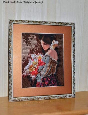 Картина бисером Дама с цветами