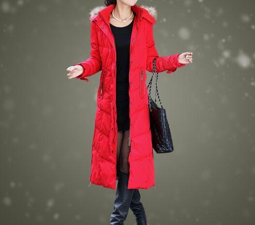 czerwony NOWY modny płaszcz parka jesień zima rozm.S/M