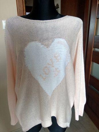 Różowy damski sweter RICK CARDONA 44 długi rękaw