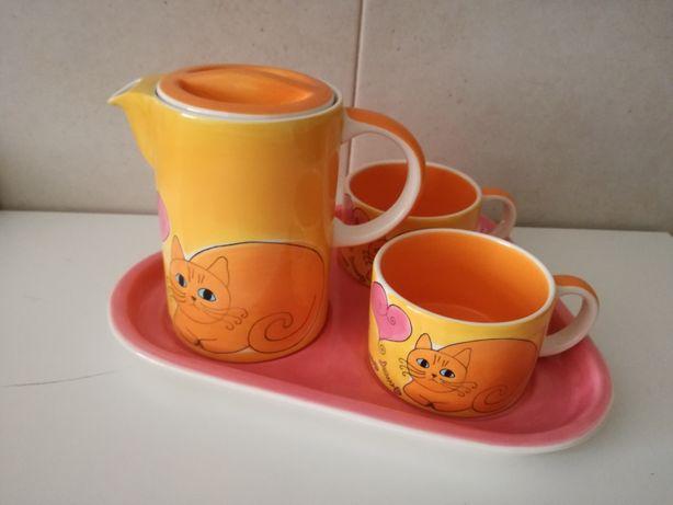 Conjunto chá ou café gato preto.