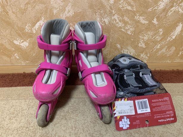 Роликовые коньки детские REACTION Rock Girl (32-35) с защитой