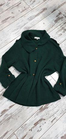 Butelkowa zieleń płaszcz bosmanka żakiet kardigan Per Una Marks&Spence