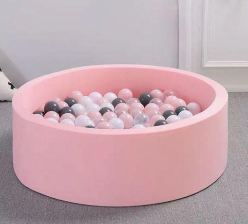 Сухой Бассейн с шариками Розовый. Серый Детский бассейн в дом квартиру