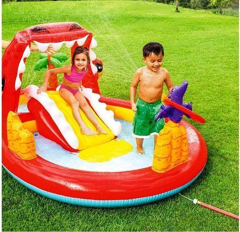 Детский надувной бассейн с горкой Intex 57160 Весёлый Dino