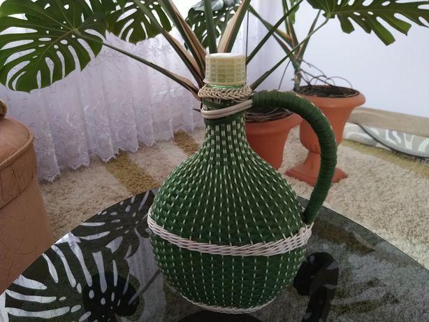Бутиль скляний декорований пластиковою стрічкою, 3 л, ручна робота