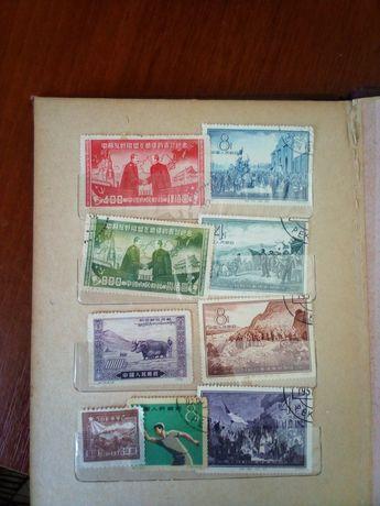 Марки поштові Китай 50 роки.