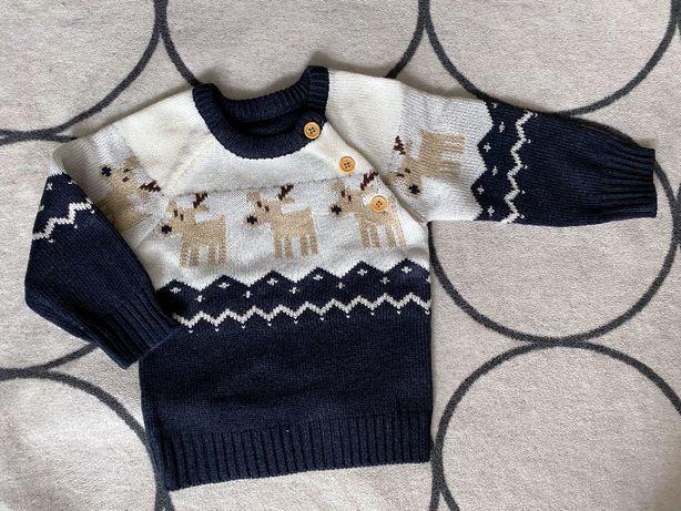 NOWY Sweter święta renifer grantowy czerwony piżamka mikołaj