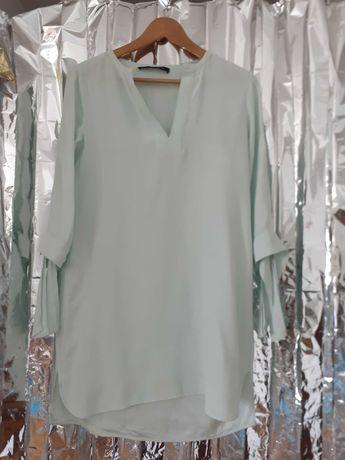 Vestido curto túnica verde agua Zara tamanho S