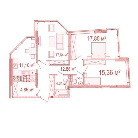 Продам 3к квартиру 86м2 с видом на озеро