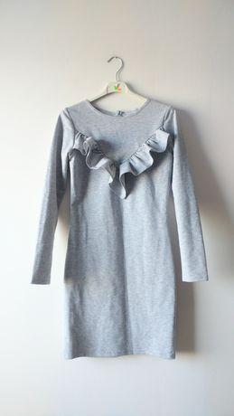 Cinamoon szara sukienka falbanka dopasowana mini rękawy siwa