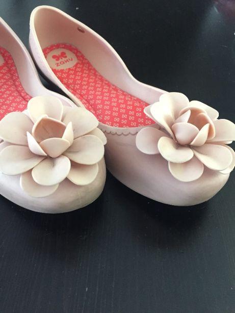 Baleriny damskie ZAXY różowe z kwiatem